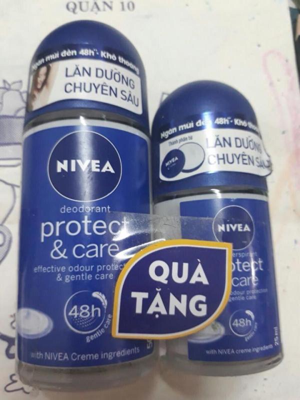 Lăn khử mùi Nivea Protect and Care Chăm sóc và bảo vệ chai 50ml tặng thêm chai 25ml nhập khẩu
