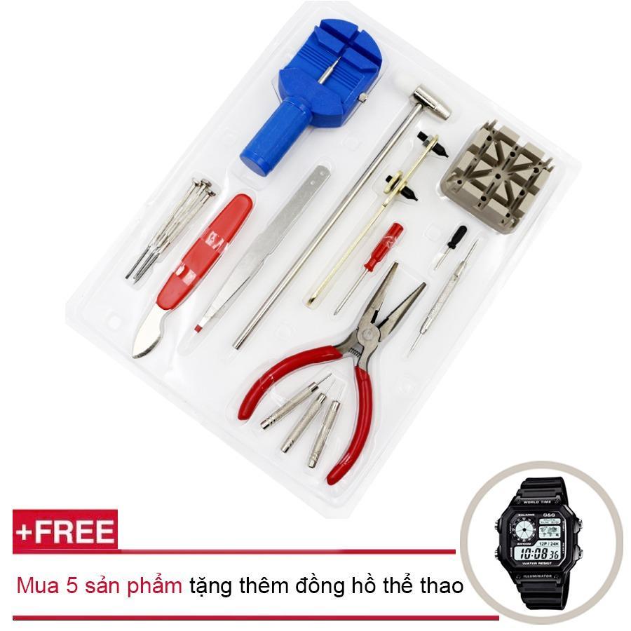 Hình ảnh Bộ dụng cụ sửa chữa đồng hồ 16 món cao cấp + Mua 5 sản phẩm tặng thêm đồng hồ thể thao