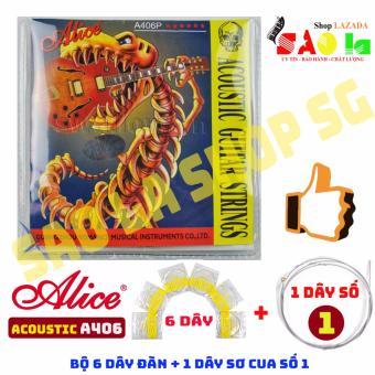 Bộ 6 Dây Đàn Ghi-ta Acoustic A406 + Bonus 01 Dây Số 1 Sơ Cua