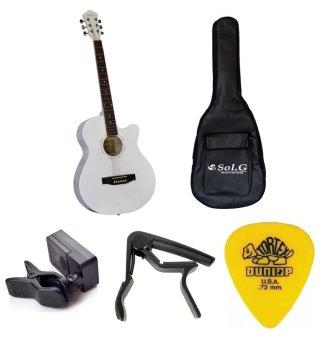 Bộ Đàn Guitar Acoustic Vines VA3910WH + Bao đàn guitar 03 lớp SOL.G+ Capo PBA05BK + Máy lên dây PD-JT30 và Móng Gảy Dunlop 4180