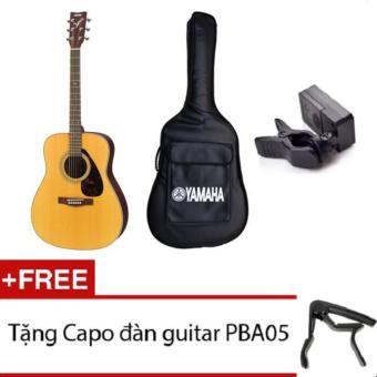 Bộ đàn guitar acoustic Yamaha+Bao+Máy lên dây, free Capo(Vàng nhạt)