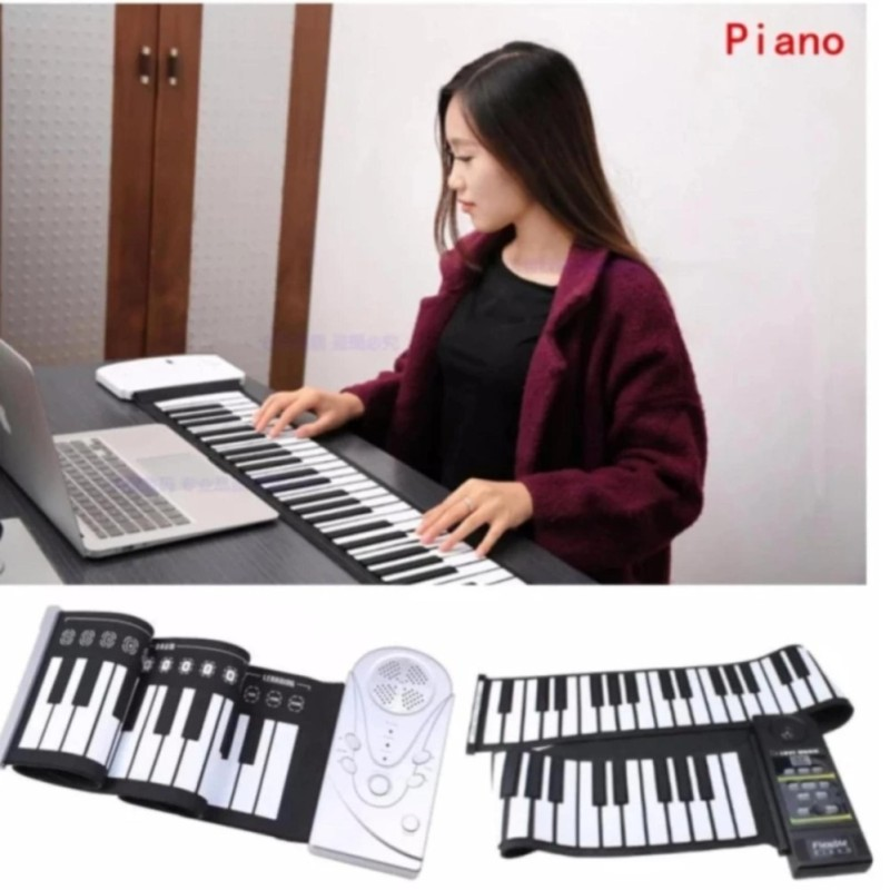 Đàn piano điện tử bàn phím cuộn dẻo 49 keys (Trắng) Loại 2018  - Hàng Nhập Khẩu