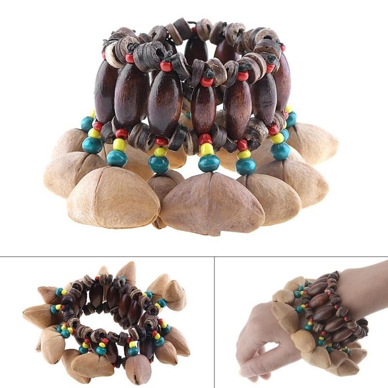 Handmade Nuts Shell Bracelet Handbell for Djembe African Drum Conga - intl