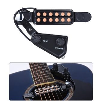 Media, Music Books Guitar Bass Accessories 12-Hole Acoustic Guitar Sound Hole Pickup Magnetic Transducer With Tone Volume Controller Audio Cable - intl