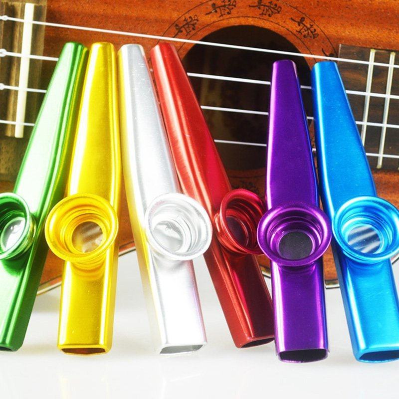 Metal Kazoo Harmonica Mouth Flute Kids Party Gift Kid Musical Instrument Red - intl
