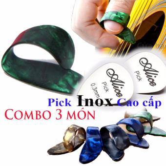 Móng gãy đàn Ghi-ta ngón P + 2 Pick Inox Alice cao cấp