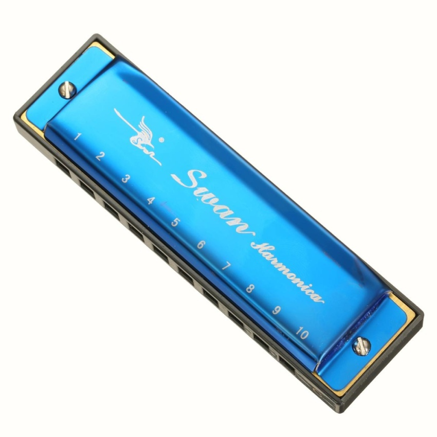 Swan 10 Holes 20 Scales Laser Colorful Plastic Body Harmonica Blue - intl