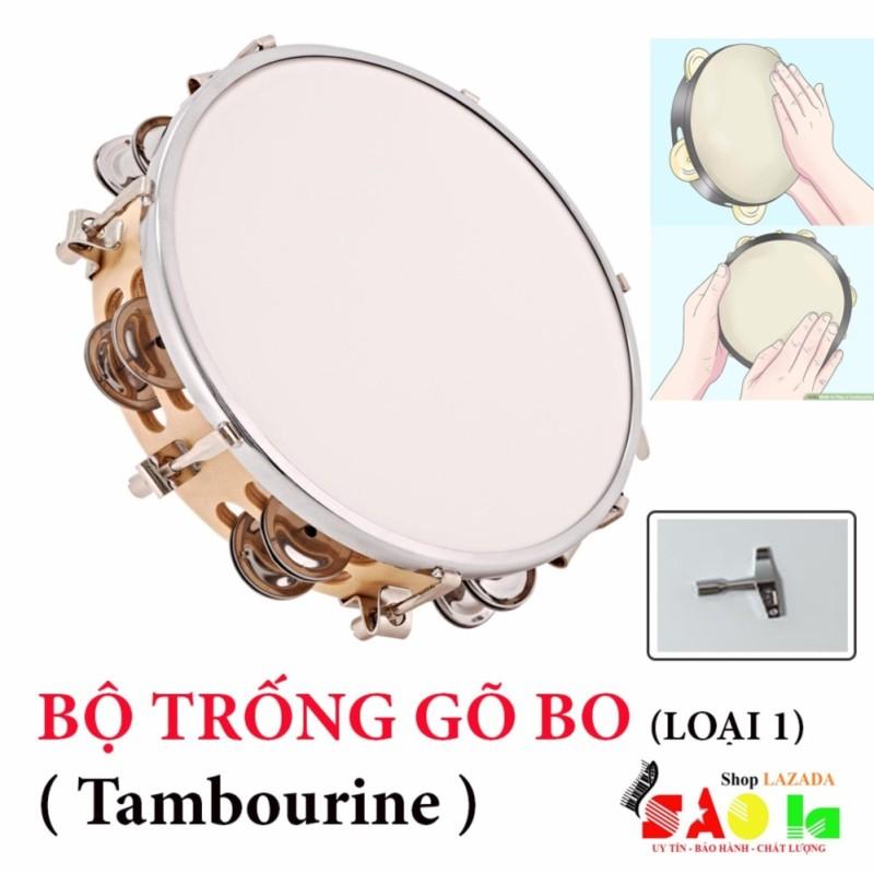 Trống Lắc Tay - Lục Lạc Gõ Bo Tambourine (Tặng Khóa Chỉnh Mặt Trống )