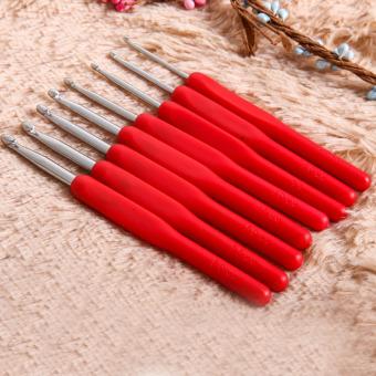 8 sizes Soft Plastic Handle Home Aluminum Crochet Knit Hook NeedleRed - Intl