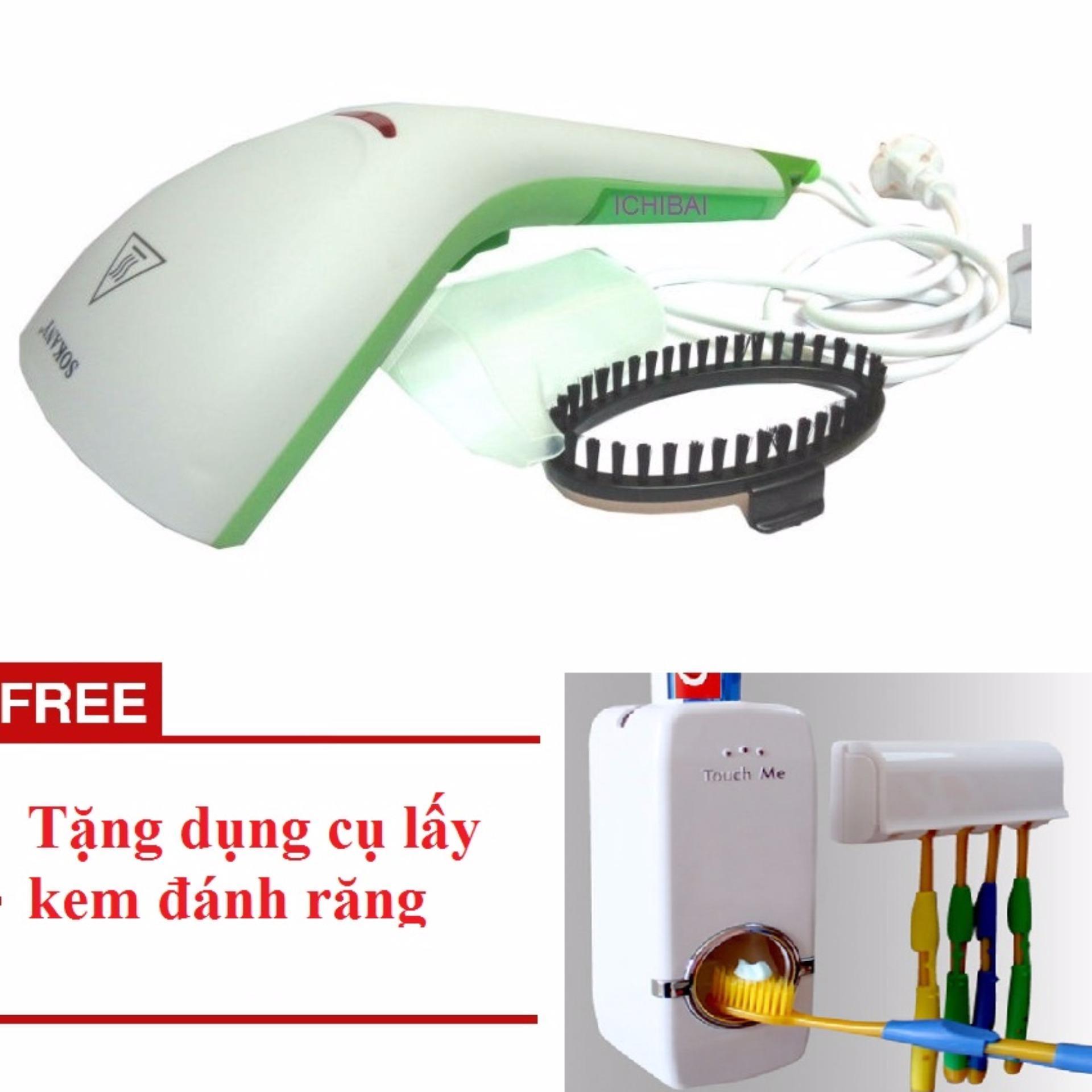 Bàn là hơi nước cầm tay cao cấp SoKany + Tặng dụng cụ lấy kem đánhrăng cao cấp(Xanh lá neon)
