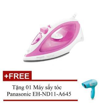 Bàn ủi hơi nước Philips GC1418 (Hồng) hàng nhập khẩu + Tặng 01 Máy sấy tóc Panasonic EH-ND11-A645 (Xanh dương)