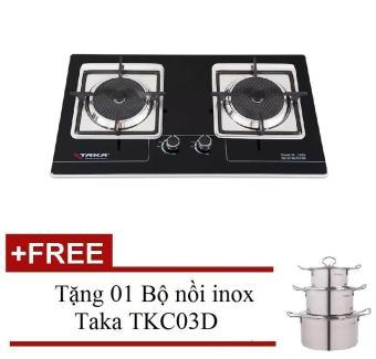 Bếp gas âm hồng ngoại Taka TK-102A + Tặng 01 Bộ nồi inox TakaTKC03D