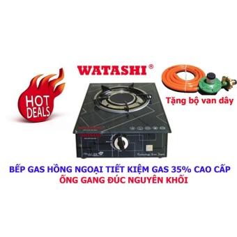 Bếp Gas Hồng Ngoại Đơn Mặt Kính Cường Lực WATASHI WA016 Tiết Kiệm Gas 35% Tặng Bộ Van Dây