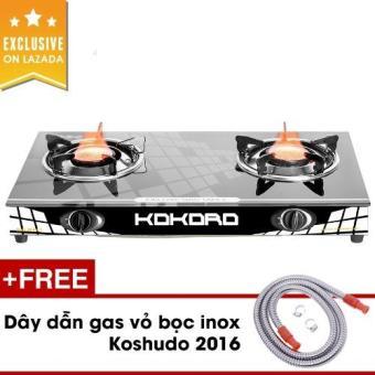 Bếp gas hồng ngoại Kokoro KR HNL 2 (Đen) + Tặng dây dẫn gas inox Koshudo