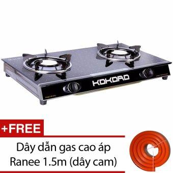 Bếp gas hồng ngoại Kokoro KR HNL (Đen) + Tặng dây dẫn gas cao áp Ranee 1.5m (dây cam)