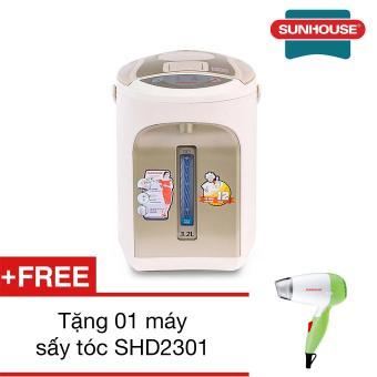 Bình thủy điện Sunhouse SH1542 4.2L (Trắng ngà) + Tặng 01 máy sấy tóc SHD2301