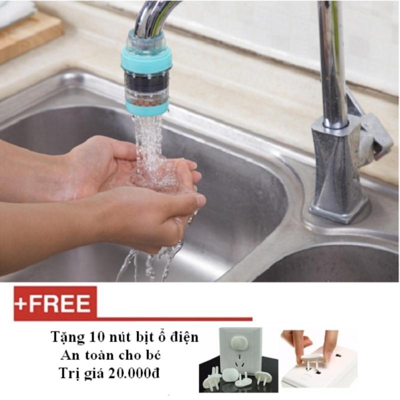 Bộ 2 đầu lọc nước tại vòi + Tặng 10 nút bịt ổ điện an toàn cho bé