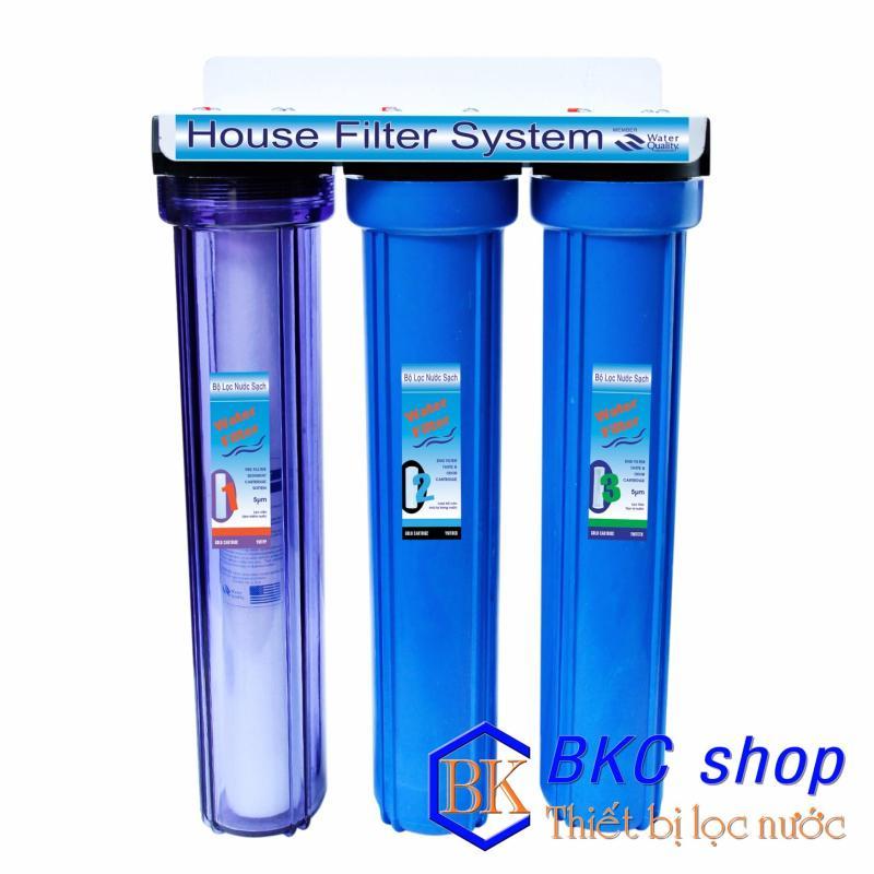 Bộ lọc nước sinh hoạt 3 cấp lọc 20 inch (xanh trong – xanh)