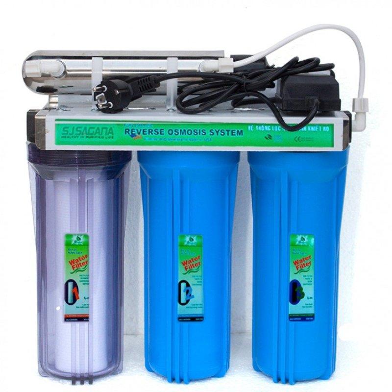 Bộ lọc nước sinh hoạt 3 cấp SJsagana ly 10'' + Đèn UV diệt khuẩn (Xanh dương)