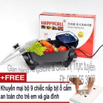 Chảo rán nướng lẩu đa chức năng Happy Call 32F - Tặng kèm 9 nắp bịt ổ cắm an toàn cho trẻ em và gia đình (KingStore)