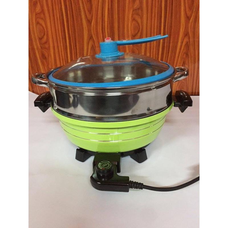 Chảo/nồi lẩu, nướng điện đa năng kèm vỉ hấp 5in1 - hàng Việt Nam