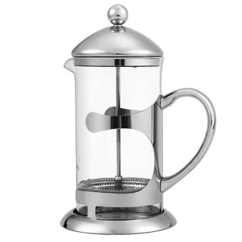 Cyber HOMDOX French Press Coffee Espresso Maker 1000ML Stainless Steel Heat Resistant Glass Carafe Kettle with Plunger Lid 2pcs Extra Filter (Silver) - Intl