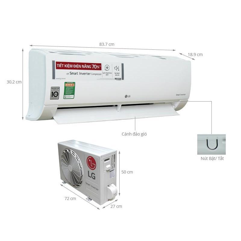 Bảng giá Điều hòa LG 1 chiều inverter 12.200BTU V13APR/X
