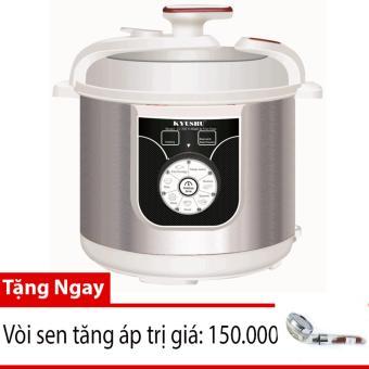 Nồi áp suất điện đa năng KYUSHU LJ 336 (Màu Bạc - Dung tích 6L) + Tặng kèm vòi sen tăng áp trị giá 150.000