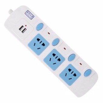 Ổ Cắm Điện USB 3 Ổ Cắm 4 Công Tắc Xinying XY-953 (Xanh dương nhạt)