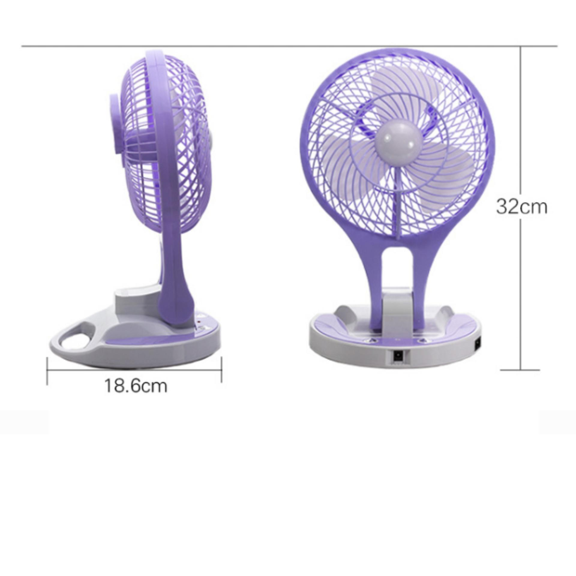 Quạt sạc tích điện mini/quạt sạc tích điện có đèn cỡ đại (Trắng phối tím)