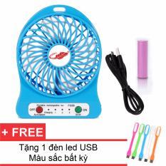 Quạt Sạc Tích Điện USB Mini Fan ( xanh dương) + Tặng 1 Đèn Led USB