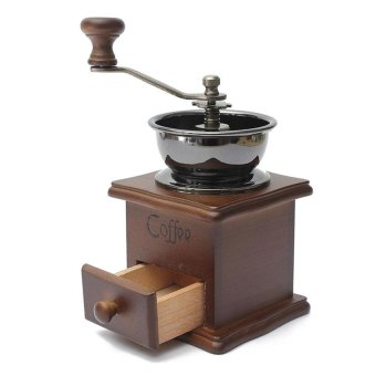RHS Coffee Bean Nut Spice Herbs Vintage Style Hand Grinder WoodenRetro Burr Mill - intl