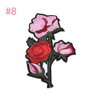Rose Embroidered Sewing On Patch Flower Stickers For Clothes Applique #8: 10.2x18cm - intl