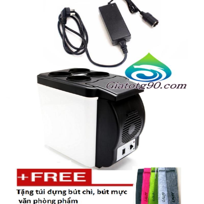 Tủ lạnh mini ô tô du lịch gia đình 206083 (Trắng)+Bộ chuyển đổi nguồn điện 220V - 12V/60W/5A