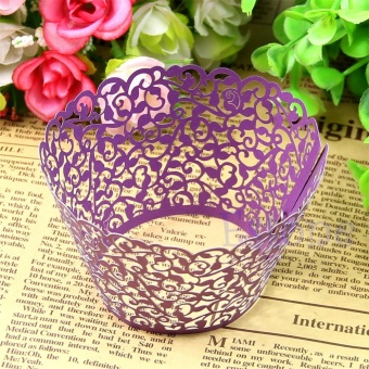 Whyus-13Pcs/Set Party Hollow Out Flower Cupcake Wrap Wrapper PaperMold (Purple) - intl