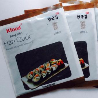 (1goi X 10 miếng) Gói Rong Biển Sấy Khô Hàn Quốc, Cuộn Cơm Gimbad