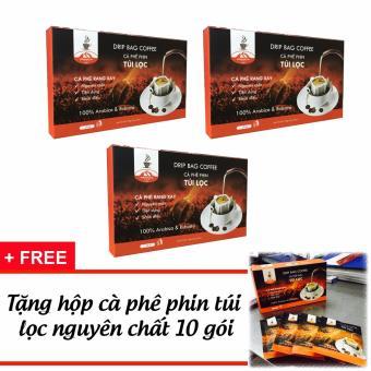 3 hộp Drip - Cà phê phin túi lọc Mr Chí 12g + Tặng 1 hộp cà phêphin túi loc 10 gói