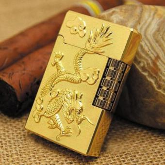 Bật lửa ga đá khắc rồng phượng (Vàng)
