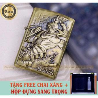 Bật lửa ZIPPO Màu Đồng : khắc 3D LOL ( XHIN ZHAO) - Tỉ mỉ - chitiết + Tặng FREE chai xăng và hộp đựng