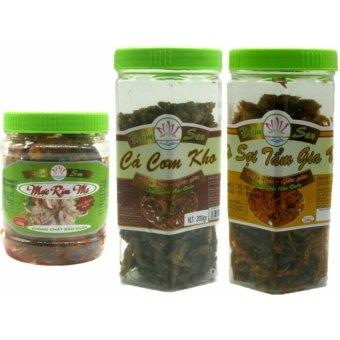 Bộ 03 món mực rim me (150g) + cá cơm kho (200g) + khô bò tẩm gia vị (200g)