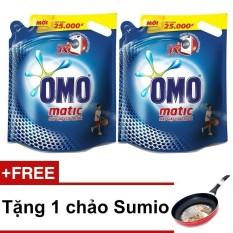 Bộ 2 nước giặt OMO Mactic cửa trước 2.7 kg + Tặng chảo chống dính Sumio