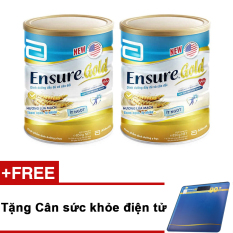 Bộ 2 sữa Ensure Gold hương lúa mạch ít ngọt 850g + Tặng cân sức khỏe điện tử