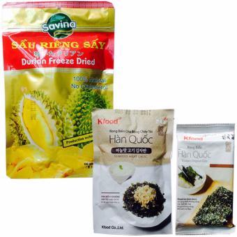 Bộ 3, sầu riêng sấy giòn- Gói Rong Biển Hàn Quốc và gói snack rongbiển chà bông