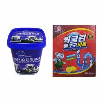 Bộ Bột thông tắc ống nước, bồn cầu Hàn Quốc và Kem đa năng tẩy xoong nồi và đồ gia dụng