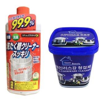Bộ Dung dịch vệ sinh lồng máy giặt - Sản xuất tại Nhật Bản + Hộpkem tẩy rửa đa năng Cao cấp