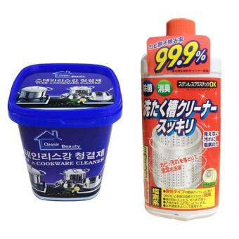 Bộ Hộp Kem đa năng tẩy xoong nồi và đồ gia dụng + Dung dịch vệ sinh lồng máy giặt Rocket của Nhật Bản