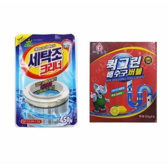 Bộ Hộp kem Siêu tẩy vết bẩn nhà bếp, nhà tắm và Bột thông tắc ống nước, bồn cầu Hàn Quốc