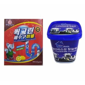 Bộ Kem đa năng tẩy xoong nồi và đồ gia dụng và Bột thông tắc ống nước, bồn cầu Hàn Quốc