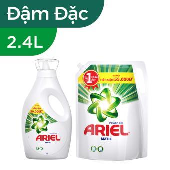 Bộ nước giặt Ariel Matic Base gel đậm đặc 2.4kg (Dạng chai) và nước giặt Ariel Matic Base gel đậm...