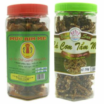 Combo 1 hộp Mực rim me đặc sản Phan Thiết loại hảo hạng 250g + 1 hộp cá cơm tẩm mè 150g